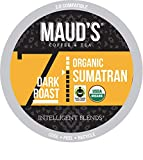 Maud's Organic Sumatra Coffee (Organic Dark Roast Coffee), 24ct. Recyclable Single Serve Fair Trade Single Origin Sumatra Coffee Pods - 100% Arabica Coffee, Sumatra Coffee K Cups Compatible