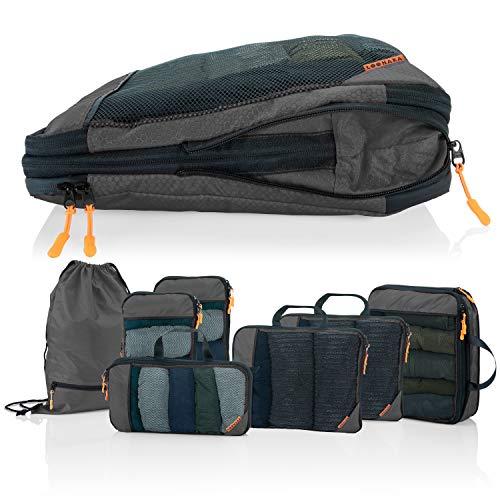 Packtaschen Kompression für Koffer und Rucksack [4-teilig] mit Packbeutel - mehr Platz im Koffer oder Backpack durch Kompression – Kleidertaschen Kompression für Deine Wander Ausrüstung (grau)