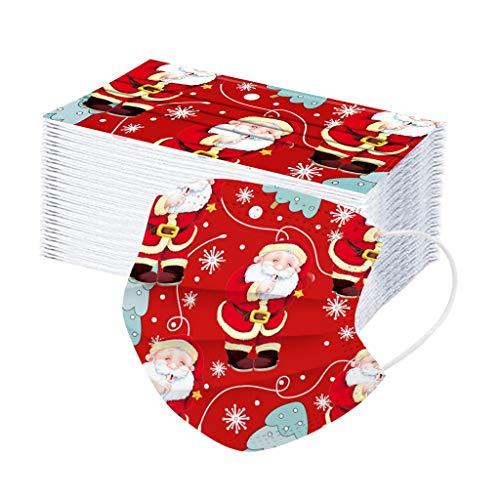 Shineshae 50 Stück Weihnachten Mundschutz Einweghülle Bandana , Staubs-chutz Atmungsaktive Mundbedeckung, Kinder Gesichts Multifunktionstuch Winddicht Atmungsaktiv