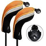 Andux 2 Pack Golf Hybrid Club Head Covers Interchangeable No. Tag MT/HY07 Black