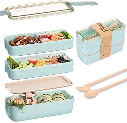 Eastor Lunch Box, Bento Box, Anti-Fuite Écologique Bento, Blé Naturel 3 Compartiments 900ml Anti-Fuite Écologique Boîte de Conservation avec Fourchette, Cuillère pour Kids Adultes -vert