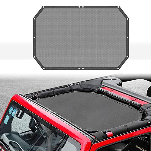 Pandaorv Mesh Shade Top Cover Sunshade Net Provides UV Sun Protection for 2007-2017 J-eep Wrangler 2 Door & 4 Door JK JKU