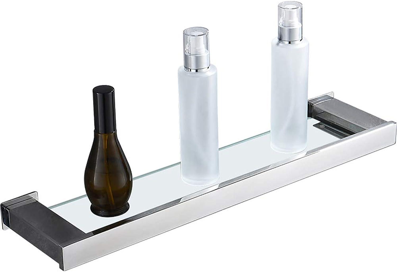 Bathroom Shelf Stainless Steel Glass Punch Free 1 Layer Storage Rack