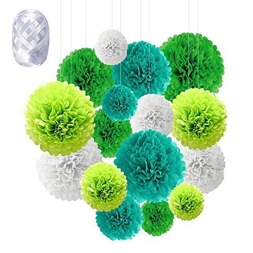 Pompon in Carta, Speyang 16 Pz Pom Pom Carta, Pon Pon Carta Velina, Paper Flower Kit, Fiori di Carta per Decorazioni, Compleanno Decorazione della Festa Nuziale (verde)