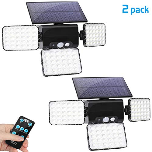 Solar Lights Outdoor, AMORNO 3 Heads Adjustable Motion Sensor 90 LEDs Solar Powered Security Flood Lights 360 Degree Rotatable with Remote Control for Patio Yard Porch Garden Garage Pathway