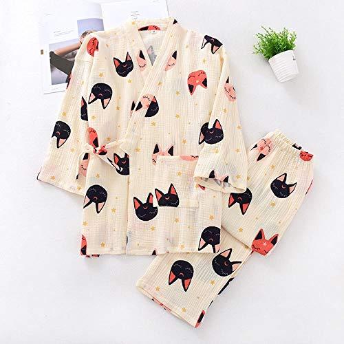 STJDM Bata de Noche,Primavera japonés crepé algodón Kimono Mujeres Pijamas Conjuntos Kawaii Dibujos Animados Gatos Mujeres Ropa de Dormir Albornoces Talla Grande XL ZBRBSMM-3