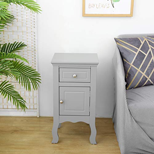 woodluv MDF Bedside Table Storage Cabinet Unit With a Drawer and Cupboard For Bedroom,Bathroom or Hallway - Grey, 33 x 30 x 63(H) cm