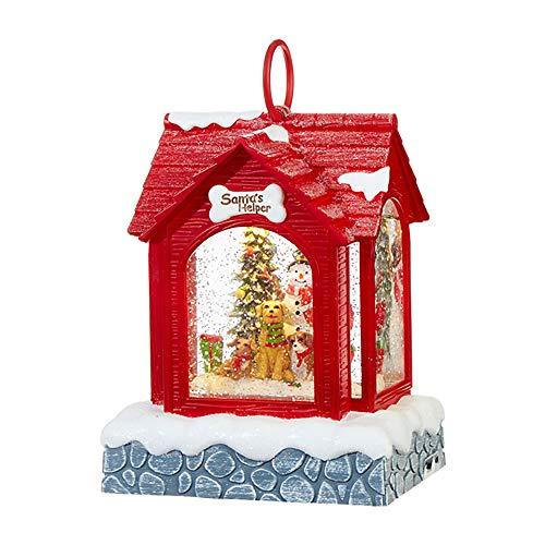 RAZ Imports Snowman Lighted Dog House (Water Lantern) Musical Lighted Christmas Snow Globe