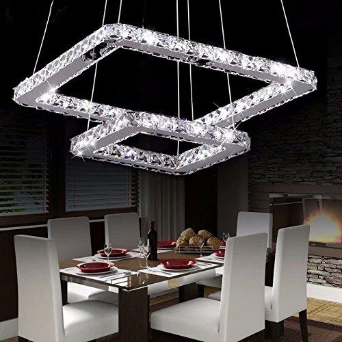 Lampadario moderno di lusso LED di LOCO, placcatura moderna quadrata in acciaio inox Lampada moderna soffitto di casa (diametro: 16 * 8 pollici) Luce bianca Con telecomando
