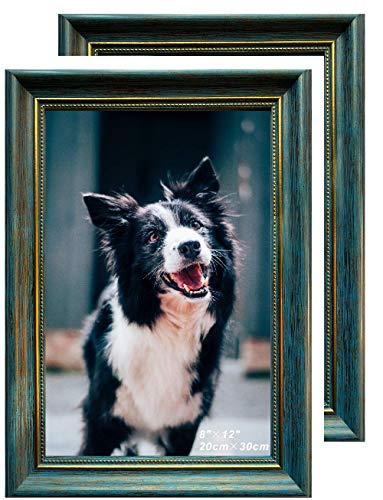 Maelove Bilderrahmen, für Fotos, Gemälde, Kunstwerke, Bilder, umweltfreundlich, kein Holz, Retro, superdick, 2 cm dick, nicht verletzende Bäume, umweltfreundlich, Blau und Gold, 2 Stück, 20 cm x 30 cm