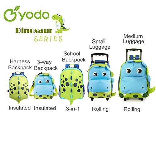 Yodo Zoo 3-Way Kids Suitcase Luggage or Toddler Rolling Backpack with wheels, Medium Shark