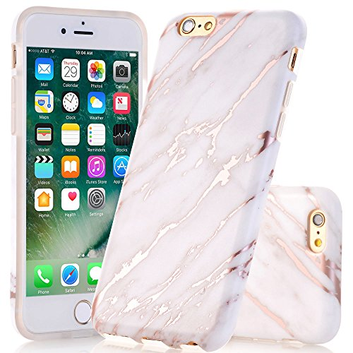 JDBRUIAN iPhone 6 Case, iPhone 6s Shiny Rose Gold Marble Design Case Slim Fit Flexible Soft TPU Bumper Shockproof Rubber Silicone Skin Cover - TJ2
