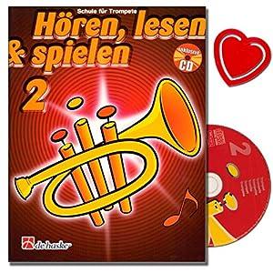Hören, Lesen und Spielen 2 für Trompete – Trompeteschule mit CD von Jaap Kastelein – Instrumentenspezifische Übungen und Spieltechniken – mit herzförmiger Notenklammer