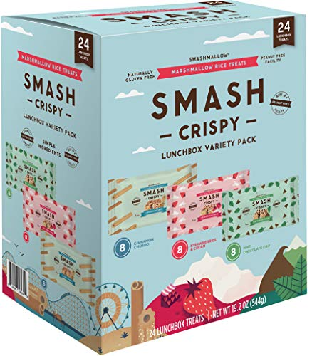 Rice Crispy Lunchbox Variety Pack By SMASHMALLOW | Cinnamon Churro, Mint Chocolate Chip, Strawberry | Gluten-Free | Non-GMO | 24 Count