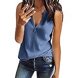 Qingsiy Mujeres Verano Moda Camisetas Chaleco Chaleco Suelta Sin Mangas con Estampado Ocasionales Cuello En V Tapas Flojas Atractiva Camiseta Tapas De Verano De Chaleco Basicas Tops(Azul,XXL)