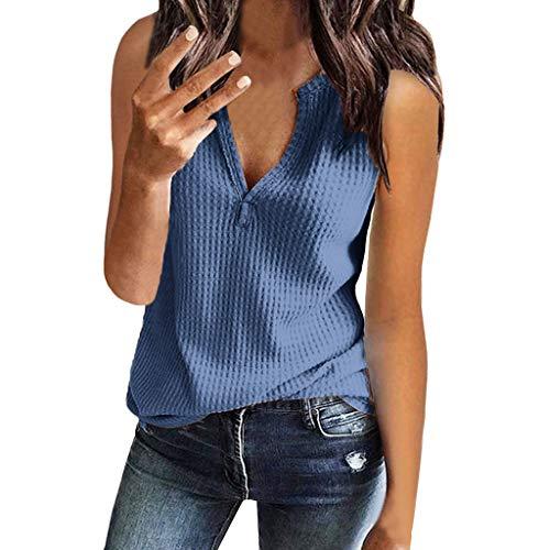 Qingsiy Mujeres Verano Moda Camisetas Chaleco Chaleco Suelta Sin Mangas con Estampado Ocasionales Cuello En V Tapas Flojas Atractiva Camiseta Tapas De Verano De Chaleco Basicas Tops(Azul,XL)