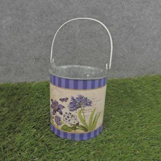 Hanken Set of 2 Metal Purple French Decoupage Buckets for Home Decor and Organizing