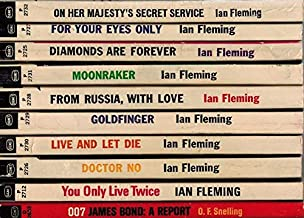 Set of 7 James Bond Thriller Paperbacks by Signet. Includes: Live and let Die, For Your Eyes Only, The Man with the Golden...