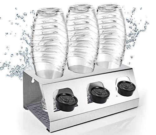Pasutewel Edelstahl Abtropfhalter Sodastream Flaschenhalter mit Abtropfwanne, Abtropfständer für Crystal und Emil Flaschen, Herausnehmbare Abtropfschale für Glasflaschen