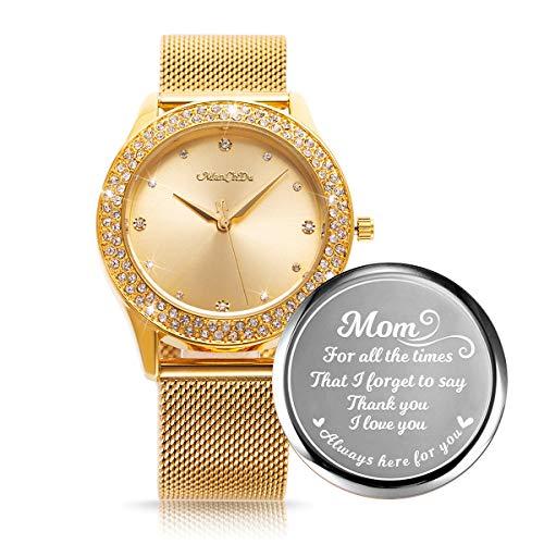 ManChDa Damenuhr, Gravierte Uhr für Frauen, Kristall Edelstahlarmband, Damen Quarz Diamant Klassische Mode Romantische Uhr (Gold)