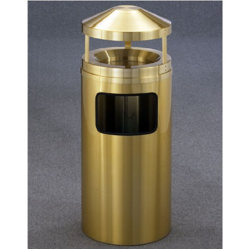 Glaro Ash/Trash Canopy Top Wastemaster® with Sand Tray, 7 Gal, 12 inch Dia. x 39 inch H, All Satin Brass