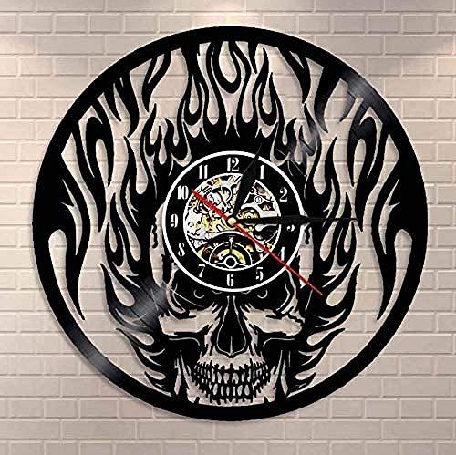 Reloj de Pared de Vinilo Navidad Viking Odin y Gungnir Record Silent Quartz Reloj de Pared Armas Espada y Escudo Magi Reloj Colgante de Pared 30c