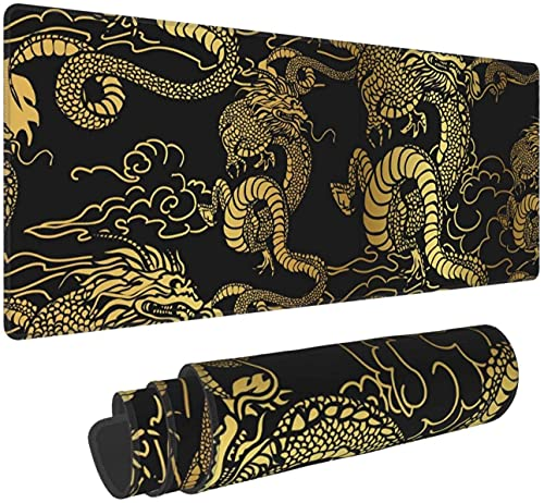 Japanese Chinese Dragon Gaming Mouse Pad XL,Extended Large Mouse Mat Desk Pad, Stitched Edges Mousepad,Long Non-Slip Rubber Base Mice Pad,31.5X11.8 Inch