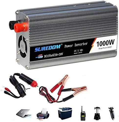 BZMOU onduleur à Onde sinusoïdale Inverseur 12V / 24V à 110V / 230V de Camion de Voiture Convertisseur de Tension.Prise for Allume-Cigare, USB Port de Charge et...