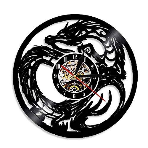 FDGFDG Yin Yang Dragon Art Alte Mythologie Tier Wanduhr China Dragon Schallplatte Wanduhr Home Decoration Clock Geschenk