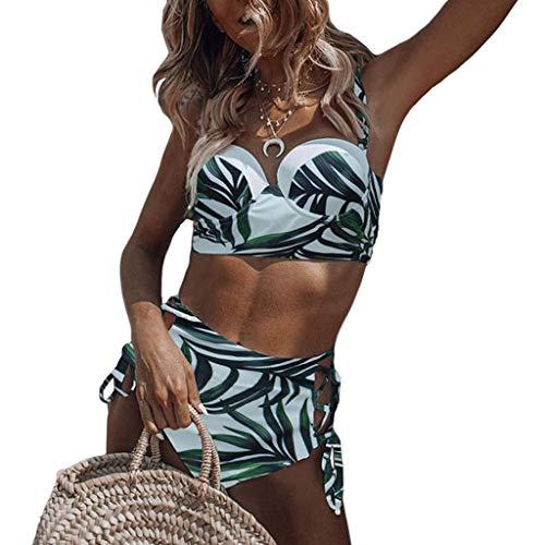 VVXXMO Conjunto de bikini de dos piezas para mujer,Traje de baño estampado de hojas tropicales,Traje de baño de cintura alta con cordones cruzados