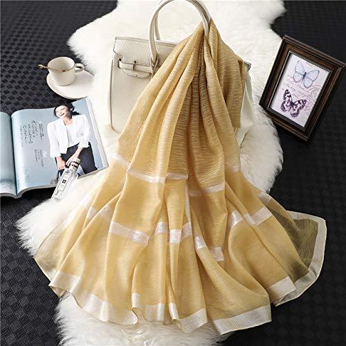 XSHOMW Invierno Velo Real Primavera y otoño Nuevo pañuelo de Seda Giratorio Marco de Rayas de Color sólido para Mujer Hermoso Versátil 5