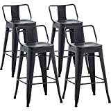 AKLAUS Metal Bar Stools Set of 4 Counter Height Stools 24 Inchs Counter Stools with Backs Black Bar stools with Backs Bar Height Stools 24
