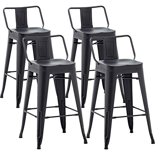 AKLAUS Metal Bar Stools Set of 4 Counter Height Stools 24 Inchs Counter Stools with Backs Black Bar stools with Backs Bar Height Stools 24' Ergonomic Seat, Low Back, Matte Black