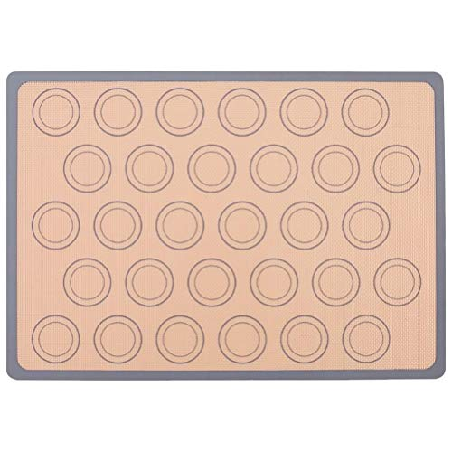 Hemoton Macaron Bakmat Non-Stick Siliconen Bakmat Glasvezel Hittebestendig Ovenplaat Beschermer Bakgereedschap Voor Gebak 42 * 29. 5Cm