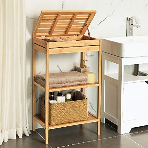 Badkamerrek van bamboe hout - Staand rek met 3 etages voor in de badkamer - Open kastje als badkamerkast - Decopatent