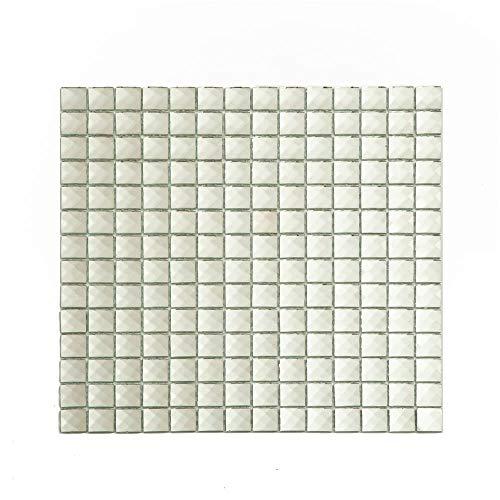 Aimayz 13 Faces Mirror Crystal Diamond Glass Tile Mosaic for Kitchen Backsplash, Bathroom Wall Decoration, 3/4 inch 5 Sheets/Box Silver