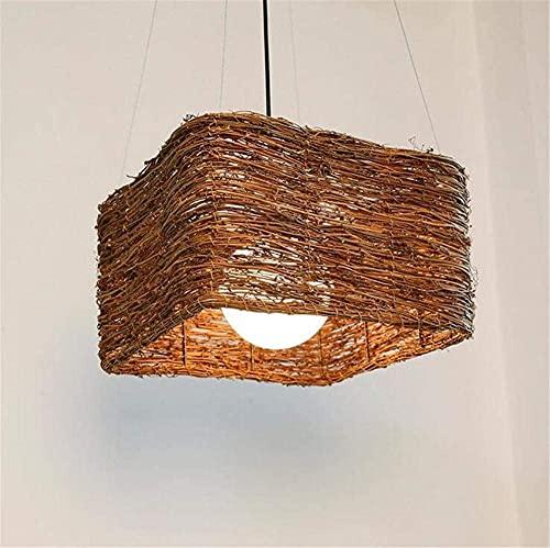 MUZIDP Iluminación Interior Lámparas de araña Moderno araña Colgante Dormitorio Sala de Estar Sala de Estar Cafe Pure Hand-Tejido Ratán Luces de Techo 220V