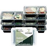 FITPREP 7er Pack 2-Fach Meal Prep Container Stapelbar, Wiederverwendbar, Spülmaschinenfest bei 55°- inkl Rezeptheft
