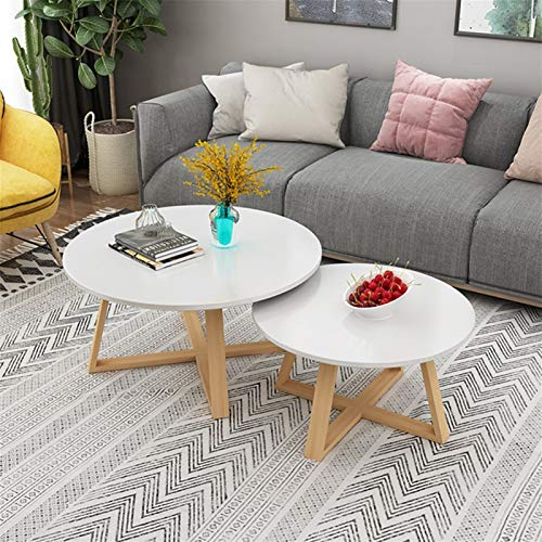 BZ-ZK Modern Coffee Table, 2 Pieces Solid Wood Round Table Apartment Living Room Coffee Table Stable Geometric Frame Low Table Dining Table(Color:E,Size:60+80CM)