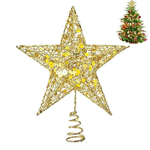 Longboom Gold Star Christmas Tree Topper 8 inches Hallow Star Xmas Tree Topper for Christmas Home Decoration