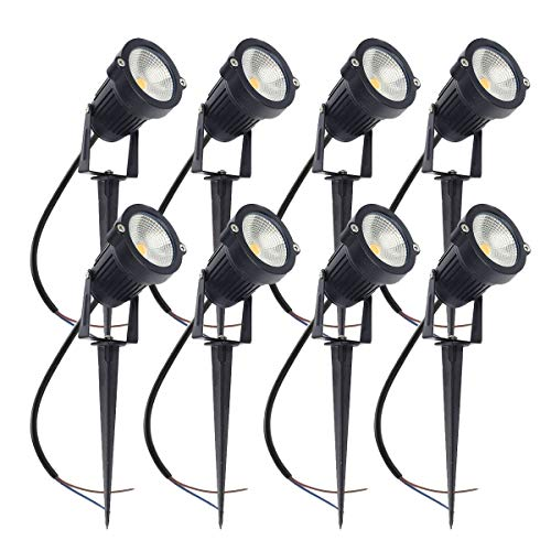 ALEDECO Outdoor Low Voltage Led Landscape Lights 12V 5W Waterproof Garden Pathway Tree Spotlight (Classic-8pack)