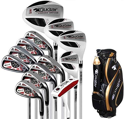 POSMA TY-GAR1M Herren Golfschläger Komplettset 13-teilig Graphitschaft Golfschläger für Herren, Anfänger, komplettes Set von Übungsstangen, mit Golftasche, Rot