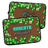 LolaPix Funda portátil Personalizable. Funda de Neopreno. Regalo Personalizado con Nombre. Varios tamaños. Minecraft