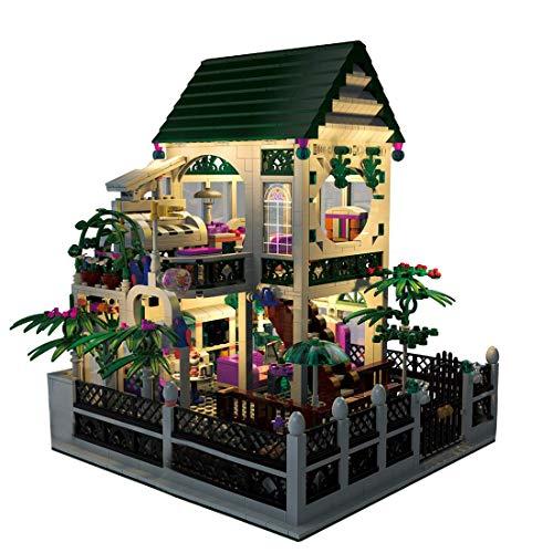 Conjunto de Edificios de Arquitectura, casita romántica DIY Hecho a Mano Casa de muñecas con iluminación LED, 1500 PCS Bloques de construcción Modular