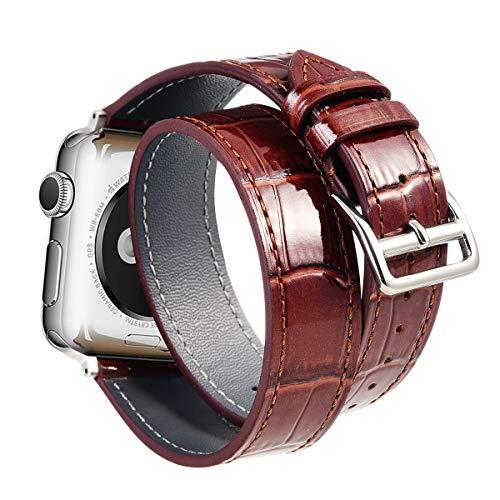 Ribivaul Piel de Becerro Doble Círculo Correa de Reloj de Patrón de cocodrilo 38mm 40mm 42mm 44mm Compatible con Apple Watch Serie 4,3,2,1.