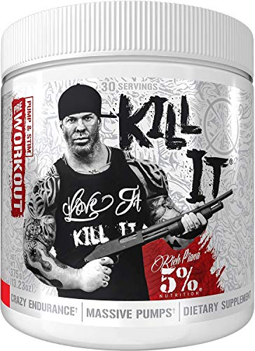 Price comparison product image Rich Piana 5% Nutrition KILL IT Pre Workout Drink Powder w / Creatine,  Jitter-Free Caffeine,  NO-Booster,  Beta Alanine for Focus,  Pump,  Endurance,  Recovery 11.11 oz,  30 Servings (Fruit Punch)