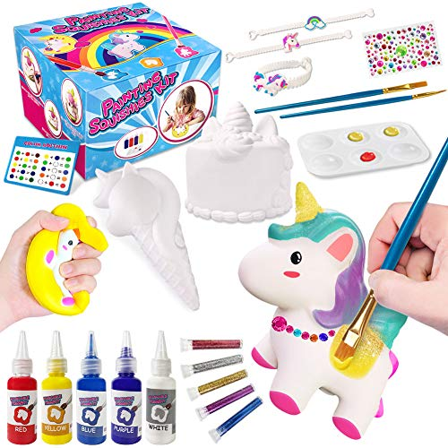 Squishies Painting Kit for Kids, DIY Dessert Paint Toys 3D Blank Arts and Crafts Kawaii Soft Creamy Squishy Slow Rise Making Kit for Girls Boys Party Favors Toys Stress Anxiety Relief for Kids Adult
