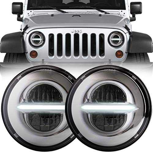 Eagle Lights Infinity Beam 7 inch Round Chrome LED Headlight Conversion Kit with White Daytime Running Light DRL for 1997-2018 Jeep Wrangler JK JKU TJ LJ with Anti-flicker Harnesses