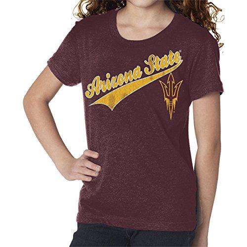 Original Retro Brand NCAA Mädchen Jugend Mädchen T-Shirt, Mädchen, Tee, Stahl Dunkelbraun, X-Large