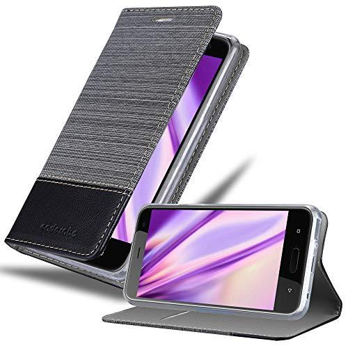 Cadorabo Hülle für HTC U11 Life in GRAU SCHWARZ - Handyhülle mit Magnetverschluss, Standfunktion & Kartenfach - Hülle Cover Schutzhülle Etui Tasche Book Klapp Style